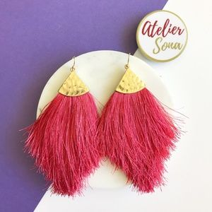 Fringe Fan Tassel Earrings - Hot Pink
